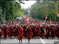 Buddhist monks march in protest in Yangon