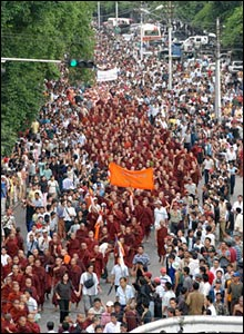 Monks marching in Burma