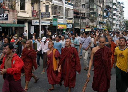 Monks marching on the streets