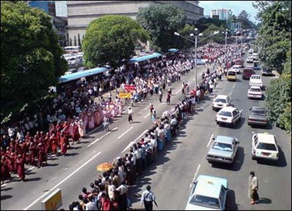Monks marching on main road