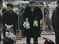 Apple sellers on Moscow streets