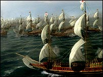 Computer generated image of the fleet preparing to take on the Spanish armada