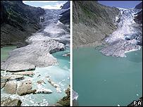 Los efectos del cambio climático en el glaciar Trift, en los Alpes Suizos