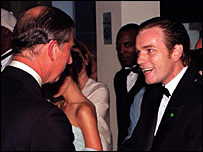 Prince Charles meets Ewan McGregor at the 1999 Royal Premiere of The Phantom Menace