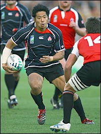 Kosuke Endo prepares to beat DTH van der Merwe on his way to scoring