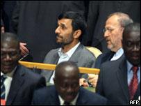 El presidente iraní, Mahmud Ahmadineyad, en la Asamblea General