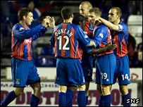Denis Wyness (19) is hailed by team-mates after netting Inverness CT's third goal