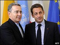 Álvaro Uribe y Nicolas Sarkozy