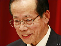 Yasuo Fukuda addresses as news conference on 25 September 2007