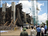 Scene at the site of the collapse of the Can Tho bridge