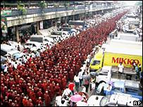 Monjes budistas en una de las marchas de esta semana.