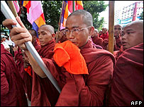 Monks protesting in Rangoon on 26 September