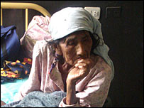 An elderly women in hospital