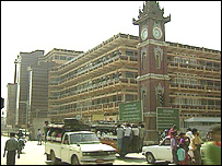 Una calle de Mandalay.