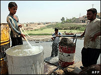 Dirty water is taken from the Diyala river in east Baghdad