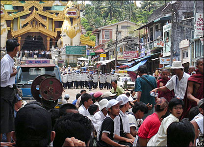 Photo released by the Democratic Voice of Burma shows police blockades as monks protest in Rangoon