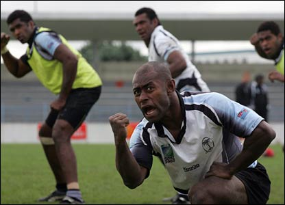 Mosese Rauluni leads the Cibi in Fiji's training camp in France