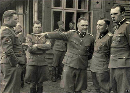 From left,  Josef Kramer, Dr Josef Mengele, Richard Baer, Karl Hoecker and unidentified at Solahuette