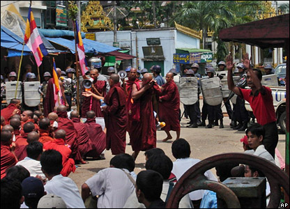 Photo released by the Democratic Voice of Burma showing monks protesting in Rangoon