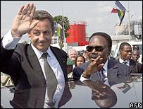 Sarkozy and Omar Bongo