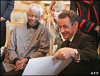 Sarkozy and Nelson Mandela