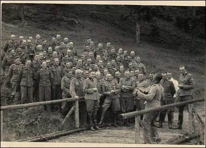 Senior SS members (front row) and others in a sing-along at Solahuette (courtesy of the US Holocaust Memorial Museum)