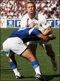 Josh Lewsey takes on the Samoa defence on Saturday