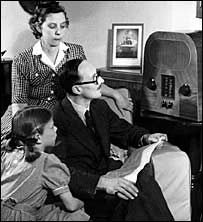 A family listening to the radio in 1947