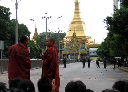 Blocked routes into downtown Rangoon.