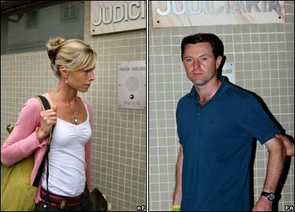 Kate and Gerry McCann at the Portuguese police station