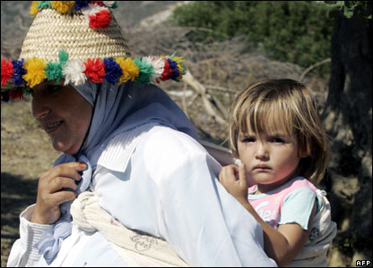 Bushra and her mother, pictured in Zinat on Wednesday.