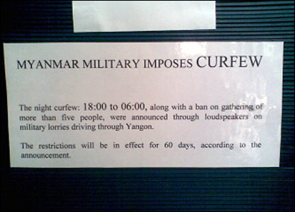 A notice of curfew