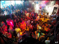 Students in a nightclub