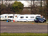 Travellers' caravans near the Liberty Stadium, Swansea