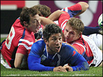 Samoa's Lome Fa'atau scored the first try against USA