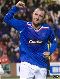 Kris Boyd celebrates his 50th goal for Rangers at East End Park