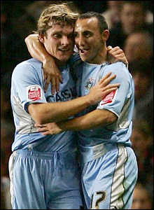 Coventry's Michael Mifsud (left) is congratulated by team-mate Jay Tabb