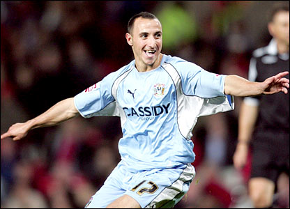 Michael Mifsud celebrates his second Coventry goal