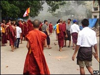 Buddhist monks on the streets of Yangon