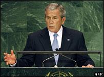 US President George W Bush addresses the UN on Burma