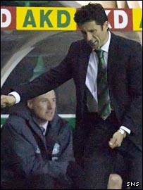 John Collins shows his anger in the Hibs dugout