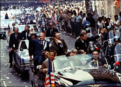 Apollo 11 crew are welcomed home in ticker tape parade. Image: Nasa.