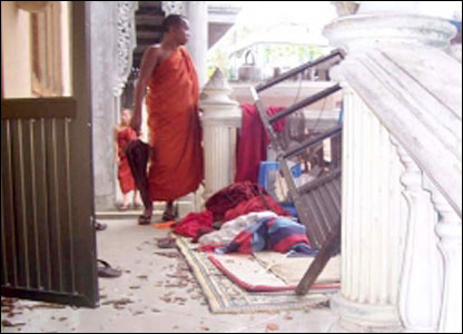 Raided monastery in Rangoon (picture supplied by MoeMaka Media internet blog to the BBC)