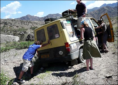 Stuck in a ditch in Kyrgystan