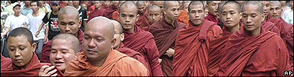 Monks on protest march in Burma