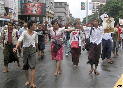 Protesters gather in the streets of central Rangoon (picture supplied by MoeMaka Media internet blog)