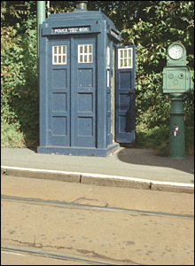 Police box at the Tramway Museum, Cliffside Crich, Amber Valley, Derbyshire. Picture from Images of England/Grayling