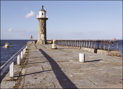 East Pier lighthouse in Whitby, North Yorkshire. Picture from Images of England