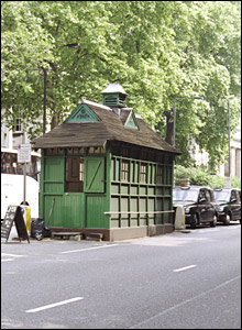 A listed cabmen's shelter in Kensington, west London. Picture from Images of England