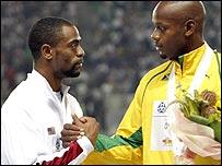 Tyson Gay (left) and Asafa Powell